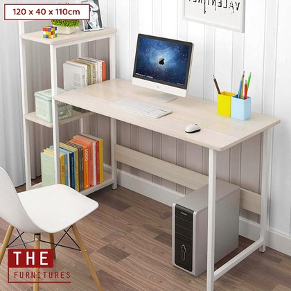THE Study Deck Writing Desk Office Table With Book Shelf 3 Tiers (120x40x110cm)