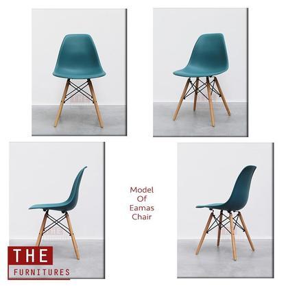THE Creative Curvy Eames Chair with PP Material & Solid Wood Leg Modern Style (L39 x W39 x H83cm) / Eames Kerusi Rumah Pejabat dengan Bahan PP & Kaki Kayu Gaya Moden Kreatif (L39 x W39 x H83cm)