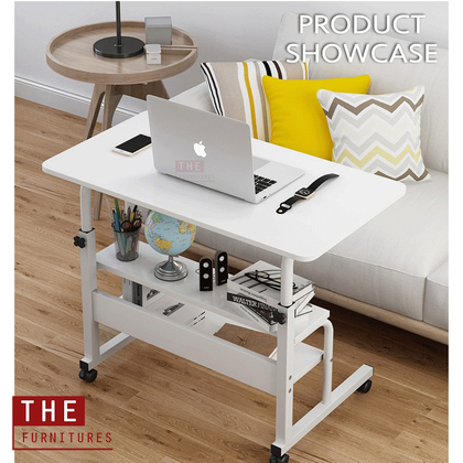THE Simply Movable Height Adjustable Bedside Table Laptop Table Computer Desk Sofa Side Table With Wheels Modern Style MDF (L60/80 x W40 x H69-90cm) / Meja Tepi Katil Meja Tepi Sofa Meja Komputer Dengan Roda Gaya Moden Papan MDF (L60/80 x W40 x H69-90cm)