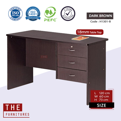 THE Writing Table Office Table Study Desk Solid Board with 1 Locker + 2 Drawer (L120 x W60 x H73cm)